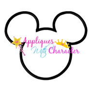 Mickey Mouse Head Outline Applique Design
