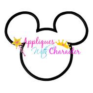 Mickey Mouse Head Outline Applique Design