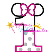 Minny Mouse ONE  Applique Design