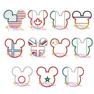 11 World Flag Mickey Mouse Head Applique Set