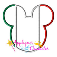 Mexico Mexican Italy Flag Mickey Mouse Head Epcot Applique Design