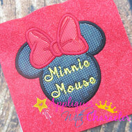 Minny Mouse Signature   Applique Design