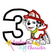 Paw Marshill Patrol Pup Three   Applique Design