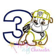 Paw Ruble Patrol Pup Three  Applique Design