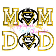 Batman Superman Mom and Dad Applique Design Set