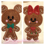 Gingerbread Mickie and Minnie Cookie Applique Design Set