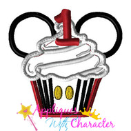 Mickie Mouse One Cupcake Applique Design