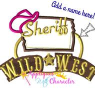 Sheriff Cally Logo Add a Name  Applique Design