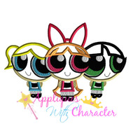 Power Puff Girl Trio Applique Design