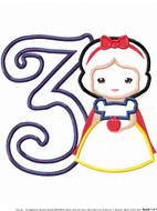 Snow White Cutie THREE Applique Design