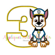 Paw Chasie Three Applique Design
