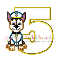 Paw Chasie Pup Five  Applique Design