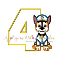 Paw Chasie Four Applique Design