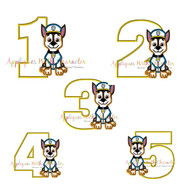 Paw Chasie One Two Three Four Five Set  Applique Design