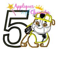 Paw Rubbs Pup FIVE  Applique Design