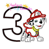 Paw Marshill Pup THREE Applique Design