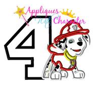 Paw Marshill Pup Four Applique Design