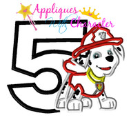 Paw Marshill Pup Five Applique Design