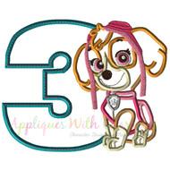 Paw Sky Pup Three Applique