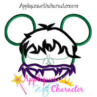 Hulk Mickey Mouse Head Applique Design