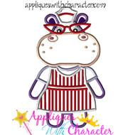 Hallie Hippo Applique Design