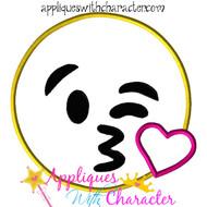 Kiss Emoji Applique Design