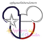 Texas Flag Mickey Mouse Head Epcot Applique Design