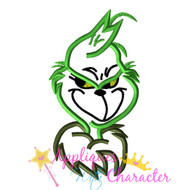 Christmas Grinch Bust Applique Design