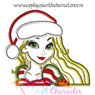 Christmas Rapunzel Bust Applique Design