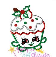 Shopikins Christmas Cupcake Applique Design