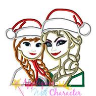 Elsa and Anna Frozen Christmas Applique Design