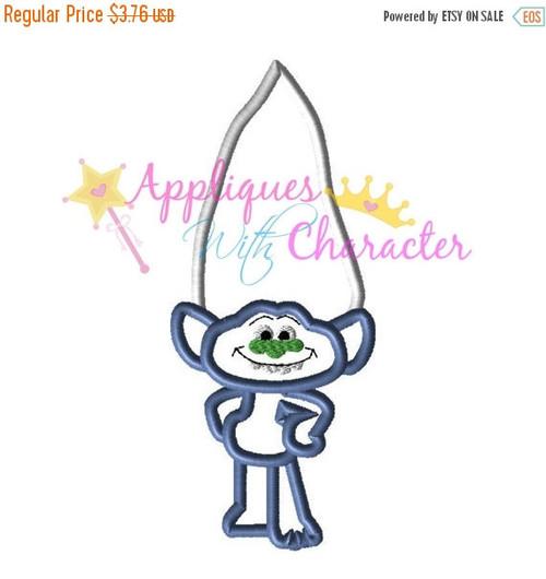 Troll Movie Blue Guy Diamond Applique Embroidery Machine Design