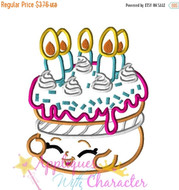 Shopkins Wishes Birthday Cake Applique Embroidery Machine Design