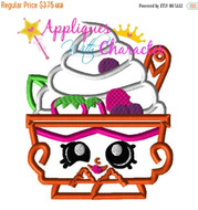 Shopkins Yochi Yogurt Ice cream Applique Embroidery Machine Design