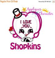 Shopkins I Love You Heart Applique Design