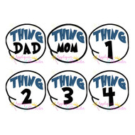 Doctor Seuss Cat Hat Thing 1-4 Mom Dad Circle Applique Set