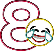 Laughing Emoji EIGHT Applique Design