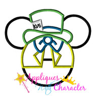 Mad Hatter Mickey Head Applique Design