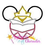 Sleeping Beauty Mickey Head Applique Design