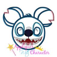 Stitch Mickey Head Applique Design