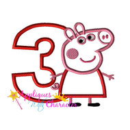 AWC Pepper Pig THREE Applique Design