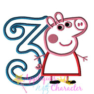 AWC Pepper Pig Curly THREE Applique Design