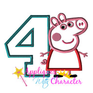 AWC Pepper Pig FOUR Applique Design