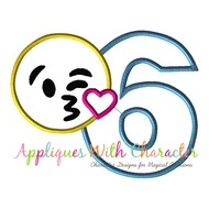 Emoji Kiss SIX Applique Embroidery Machine Design