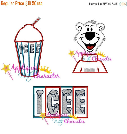 Icee Drink, Icee Logo, Icee Polar Bear Applique Design