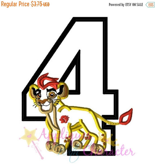 Lion Guard FOUR Inspired Applique Design