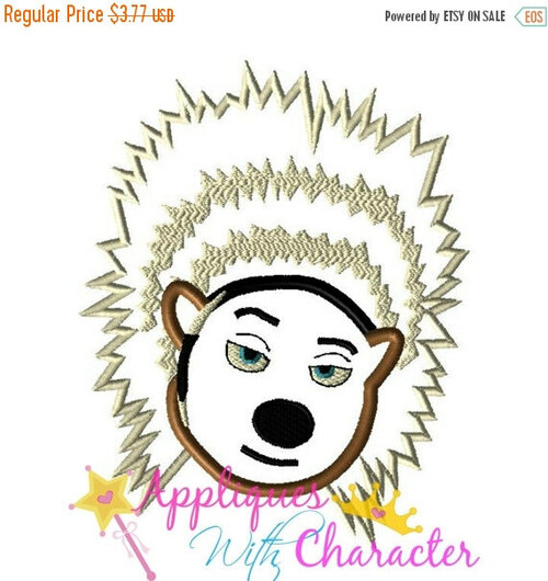 Sing Movie Ash Porcupine Applique Design