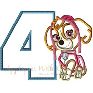 Paw Skye Patrol Pup Four Applique Design