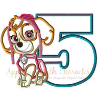 Paw Sky Pup Five Applique Design
