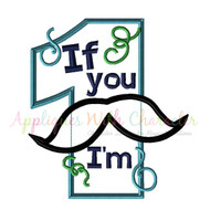 Mustache One Applique Design